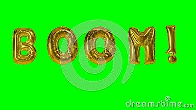 Auge de la palabra de las letras del globo del oro del helio que flotan en la pantalla verde - almacen de video