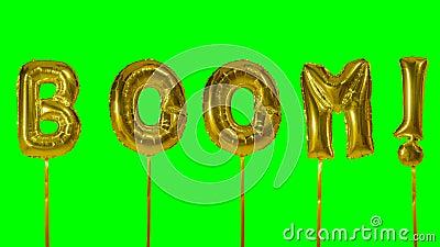 Auge de la palabra de las letras de oro del globo del helio que flotan en la pantalla verde - almacen de metraje de vídeo