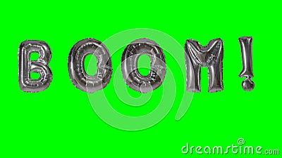 Auge de la palabra de las letras de plata del globo del helio que flotan en la pantalla verde - metrajes