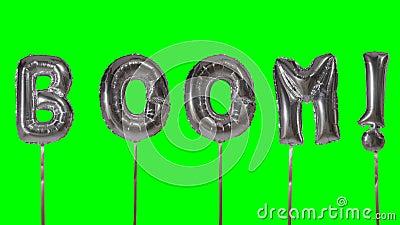 Auge de la palabra de las letras de plata del globo del helio que flotan en la pantalla verde - almacen de metraje de vídeo