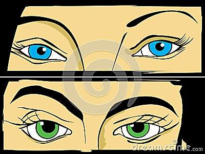 Augen eingestellt