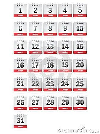 August Calendar Icons