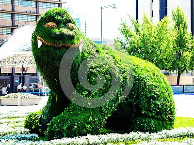 In August 2009, it was renovated in Gwanghwamun Plaza, where water sprinkled on Haitai Topiary, a symbol of the Seoul Metropolita Editorial Stock Photo