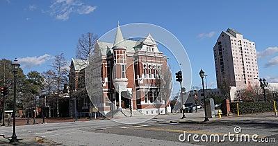 Augusta Cotton Exchange Building en Augusta, Georgia 4K Fue construido en 1886 y ahora alberga el Banco del Estado del Sur metrajes