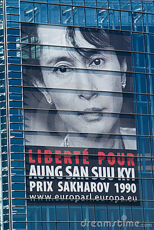 Aung san suu kyi free request poster Editorial Stock Image