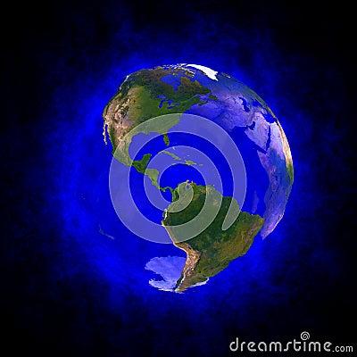 Aureola azul de la tierra - América