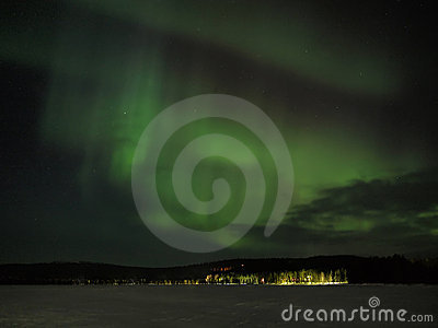 Aurora borealis display