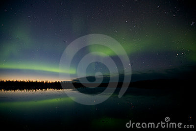 Aurora Borealis Over a Lake