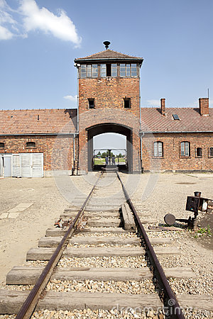 Free Auschwitz Birkenau Main Entrance With Railways. Stock Images - 26126774