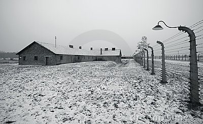 Auschwitz - Birkenau in Polland in winter Editorial Image