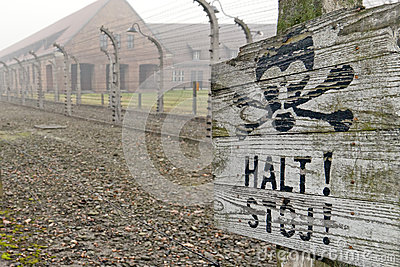 Auschwitz camp sign Editorial Photography