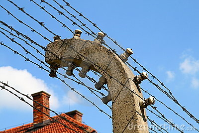 Auschwitz electric fence Editorial Image