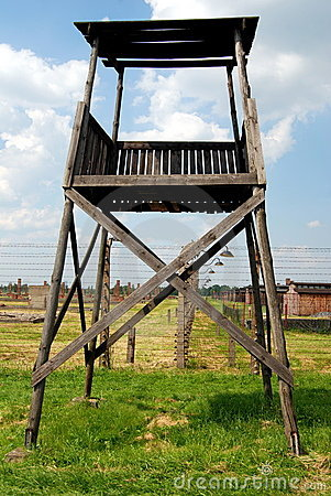 Auschwitz, Poland: Concentration Camp Watchtower Royalty Free Stock Image - Image: 15444206