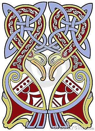 Ausführliches keltisches Auslegungelement mit Vögeln