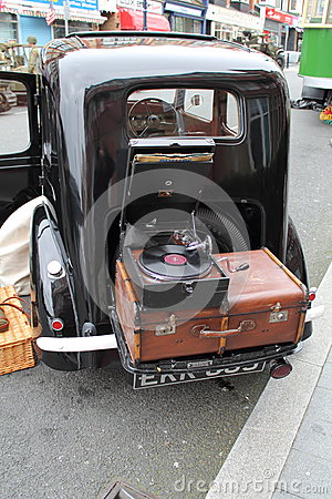 Austin Seven car,suitcase & gramophone Editorial Stock Image