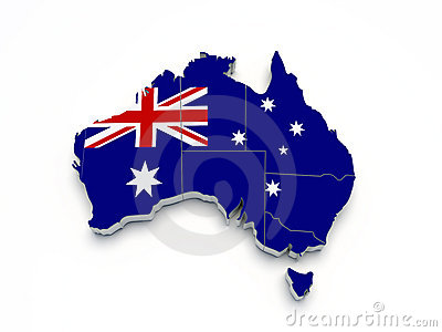 Australia 3D flag map on white