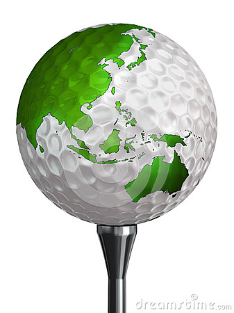 Australia and asia green continent on golf ball