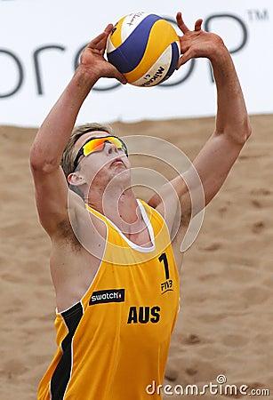 Australia Beach Volleyball Man Ball Editorial Photography