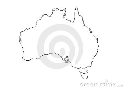 Australia Black Outline Map Vector Illustration