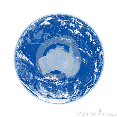 Australia on blue Earth