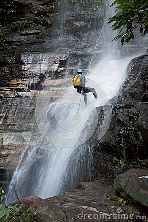 Australia: Blue Mountains waterfall rapelling Editorial Image