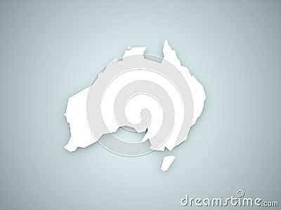 Australia continent on blue