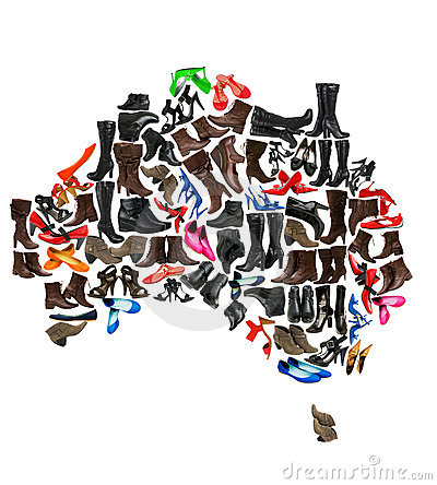 Australia continent made of  shoes