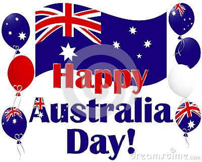 Australia Day background with Australia flag ballo