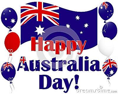 Australia Day background with Australia flag ballo