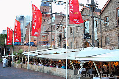Australia Day people dining in The Rocks Editorial Photo