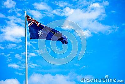 Australia flag with blue sky