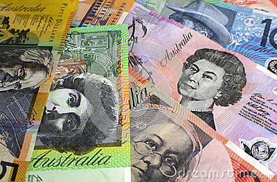 Australia hundred, fifty, twenty, ten and five dollar notes