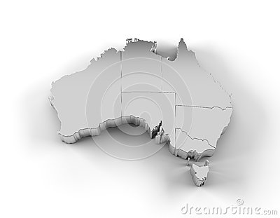 Australia map 3D silver with states and clipping path