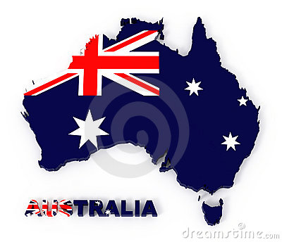 Australia, map with flag, with clipping path