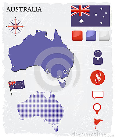 Australia map icons and buttons set
