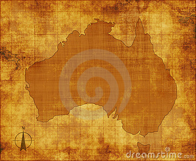 Australia map on parchment