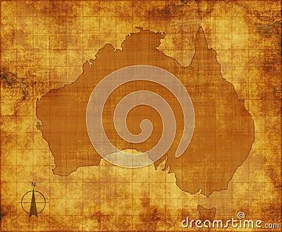Australia map on parchment