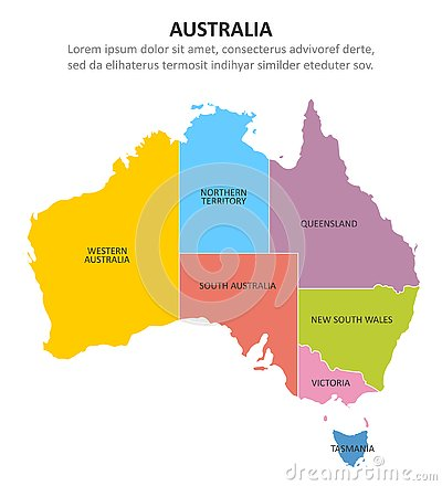 Free Australia Multicolored Map With Regions. Vector Illustration Royalty Free Stock Photography - 145215307