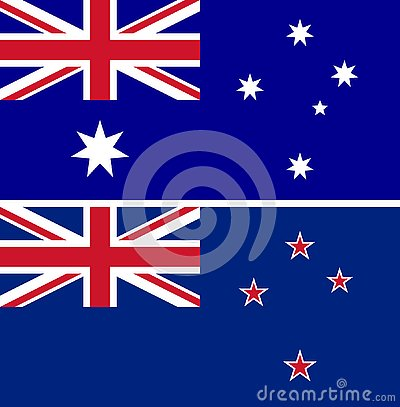 Australia and New Zealand flags vector isolate Vector Illustration