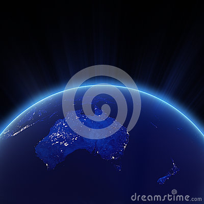 Australia and New Zeland city lights at night