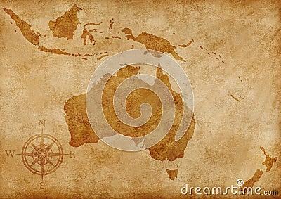Australia old map illustration