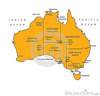 Australia Orange Map Vector Illustration
