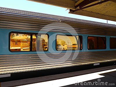 Australia: passenger train at historic station
