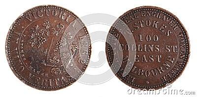 Australian 1862 Penny Token scarce copper coin