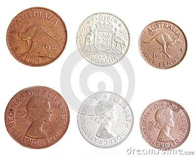 Australian 1963 Penny, Half Penny and Florin