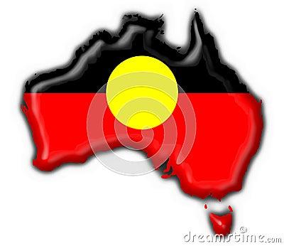 Australian Aboriginal button flag map shape