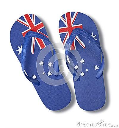 Free Australian Australia Day Flag Thongs Royalty Free Stock Images - 18716289