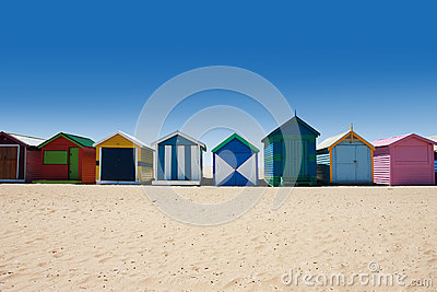 Australian bathing boxes at Brighton beach