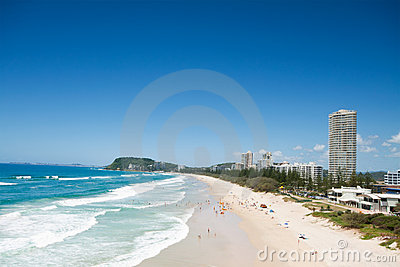 Australian beach during with buildings beside