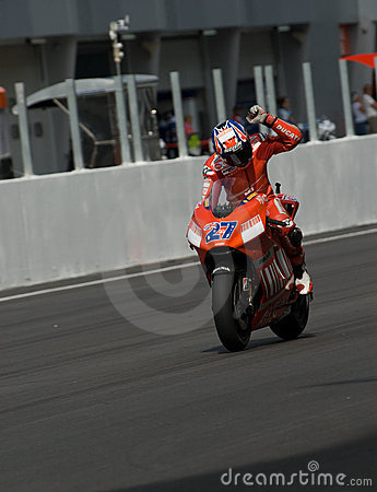 Australian Casey Stoner of Ducati Marlboro winner Editorial Photo